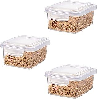 3PCS Céréales Conteneurs de stockage avec couvercles de stockage de grandes capacités Stockage alimentaire Bonne étanchéit...