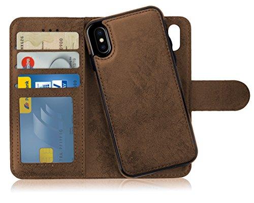MyGadget Funda Flip Case con Tapa [2 en 1] para Apple iPhone X XS en Cuero PU - Carcasa Cerrada con Soporte - Cubierta Magnética Separable - Café