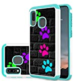 Galaxy A20 Case,Galaxy A30 Case,AMOOK 2-in-1 Double Layer Hard PC Cover Soft TPU Heavy Duty Bumper Shock Proof for Samsung Galaxy A20/A30 6.4inch,Dog Paw