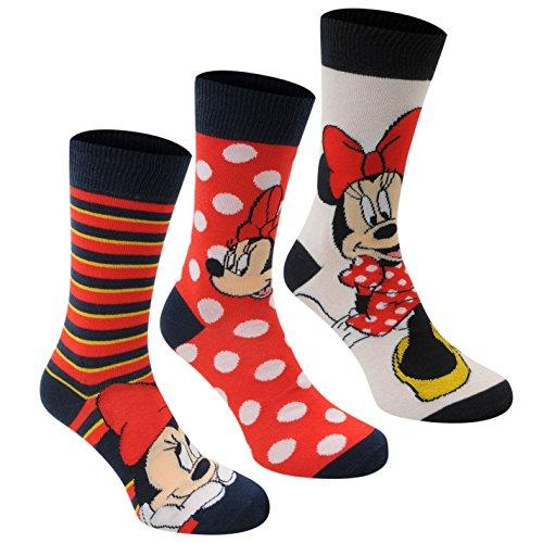 Disney Minnie Maus 3er-Pack Kurzsocken für Damen, gerippte Bündchen mit Streifen