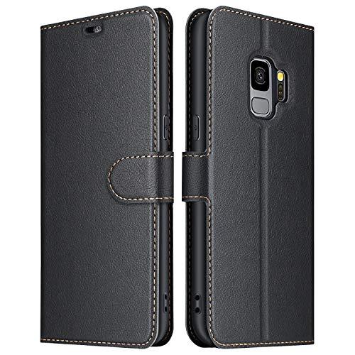 ELESNOW Hülle für Samsung Galaxy S9, Premium Leder Flip Wallet Schutzhülle Tasche Handyhülle für Samsung Galaxy S9 (Schwarz)