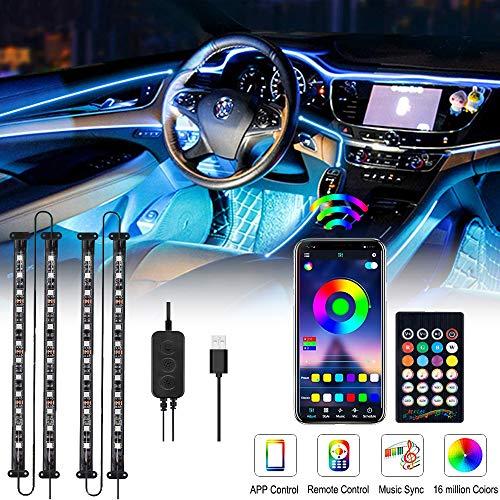 Auto-LED-Leuchten Interieur, OTHWAY Auto-LED-Lichtleiste, LED Innenbeleuchtung Auto, wasserdicht 4 Stück 48 LEDs Bluetooth APP-gesteuerte Beleuchtungssätze, 5V (USB-Schnittstelle)