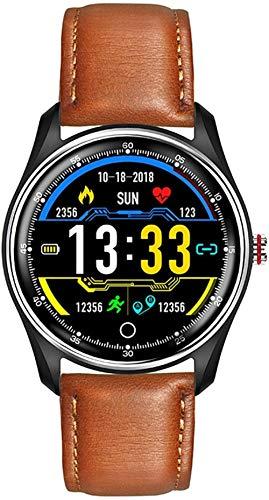 JSL Reloj inteligente 1.25 pulgadas pantalla a color a todo color impermeable pulsera deportiva con recordatorio inteligente y función de monitoreo del sueño-Cinturón marrón
