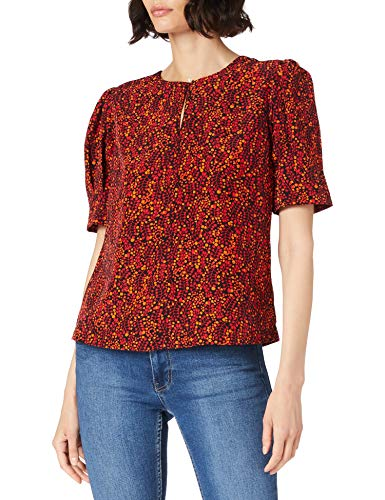 Scotch & Soda Maison Damen Bedrucktes Top mit gerafften Ärmeln Bluse, 0220 Combo D, S