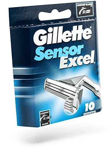 Gillette Sensor Excel Shaving Cartridges for Men Quantity: 10 (Packaging May Vary)
