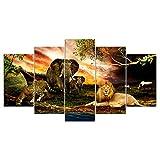 MIYCOLOR HD Printed Modular Animals Poster Wandkunst Leinwand Gemälde Löwe Elefant Gepard Bild Poster und Drucke, gerahmt 40X60 40X80 40X100cm