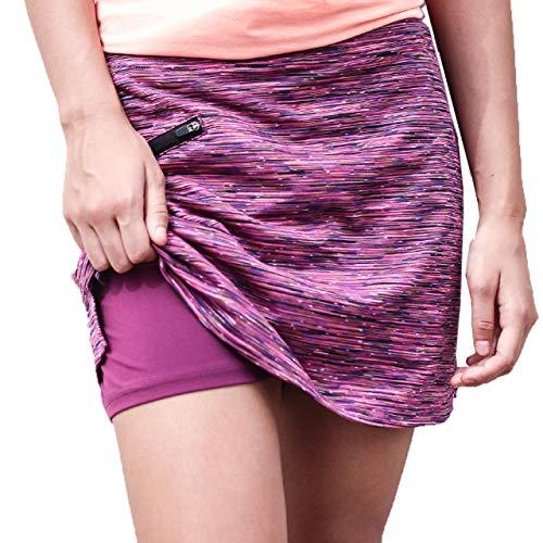 ryandrew Skort for Women Lightweight Activewear Skirt for Running Tennis Golf Workout Pickleball Walking Casual Peach Stripe Zipper Pocket Large