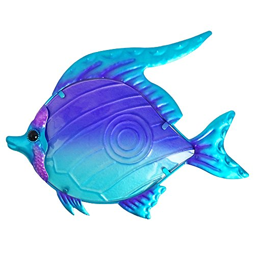 Comfy Hour Under The Sea Collection 10' Purple Blue Metal Art Fish Wall Decor