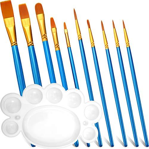 11 Stücke Malerei Pinsel Malpinsel Set, Enthält 10 Stücke Nylon Malpinsel Rund Spitz Zulaufend Spitze Kunst Pinsel mit Palette für Aquarell, Malerei Acryl Öl, Malerei Leinwand, Keramik, Ton, Holz