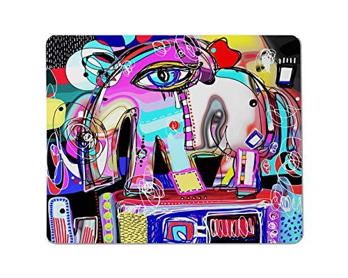 Yeuss Abstracts art Rechthoekige Niet-slip Mousepad Primitieve abstracte digitale schilderij van decoratieve olifant Gaming muismat 200mm x 240mm