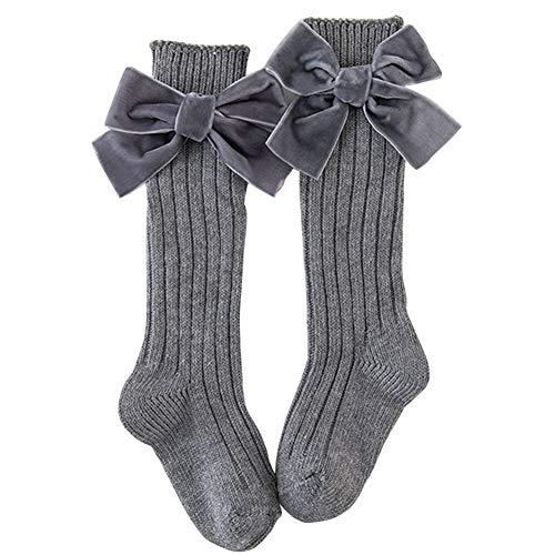 ZSooner Calcetines transpirables largos con lazo, para el hogar, regalo a la rodilla, calcetines de algodón peinado, para invierno, para uniforme, mantiene el calor suave (gris)