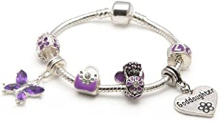Liberty Charms God Daughter Childrens 'Purple Fairy Dream' Silver Plated Charm Bead Bracelet