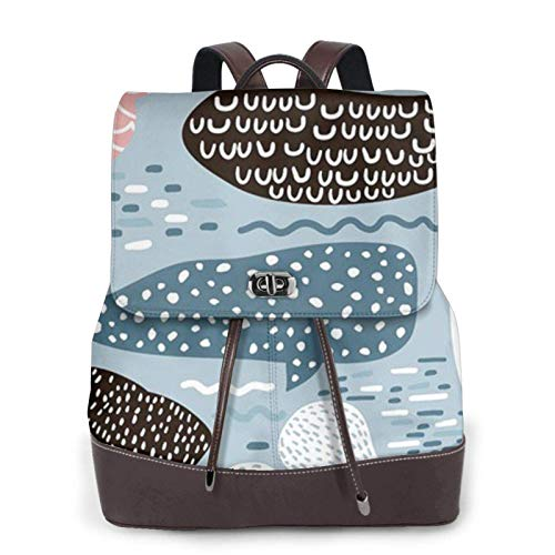 Women'S Leather Backpack,Seal Whale Octopus Fish Print Women'S Leather Backpack