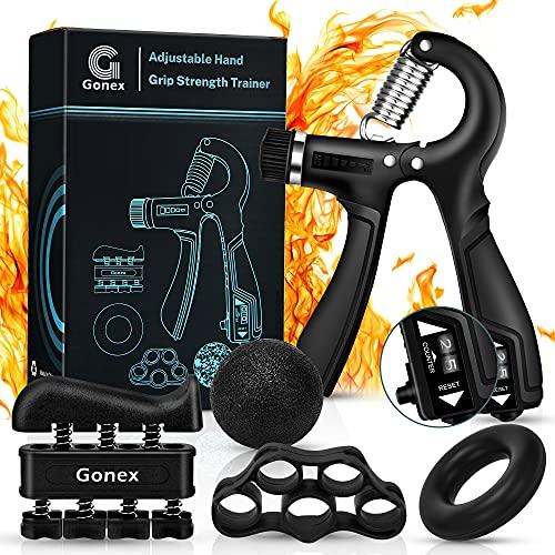 Gonex Handtrainer Fingertrainer Set mit Zählfunktion, 5-60kg Verstellbarer Unterarmtrainer, Hand Trainingsgerät, Fingerhantel, Trainingsring, Griffball für Fitness Krafttraining Therapie