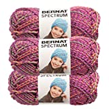 Bernat (3 Pack Spectrum 100% Acrylic Soft Lavender Lights Purple with Neon Cage Yarn for Knitting Crocheting Super Bulky #6