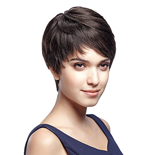 "Style Icon 5"" Cute Short Pixie Wigs with 100% Brazilian Hair (DARK BROWN, Side Swept Bangs) - Pixie Cut Wigs for White Women - Human Hair Wigs Caucasian Wigs - Short Straight Wig Beauty Personal Care"
