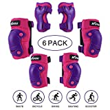 Kuyou Kids Protective Gear, 6 Packs Knee Pads Elbow Pads Wrist Guards for Skateboarding Inline Roller Skating Cycling Biking BMX Ski Scooter (Purple)