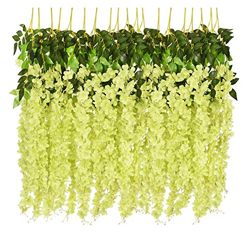 LaiYueShangMao Beautiful 12PCS Artificial Flowers Silk Wisteria Vine Hanging Flower for Wedding Garden Floral Living Room Office Decor Home Garden Decorating (Color : GREEN)