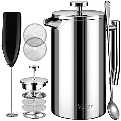 Veken French Press Coffee Tea Maker 34oz, 304 Stainless Steel Insulated Coffee Press with 4 Filter Screens Milk Frother, Rust-Free, Dishwasher Safe, Silver