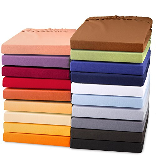 aqua-textil Exclusiv Spannbettlaken Doppelpack 90x200 - 100x220 cm Natur Jersey Baumwolle 230g/qm Spannbetttuch Elastan Laken