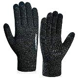 coskefy Winter Warm Gestrickte Touchscreen Handschuhe für Frauen Männer Gloves Wolle Ostern Weihnachten Sport Fahrrad Reiten Camping Wandern Laufen Arbeit Bequem (Herren, Grau)