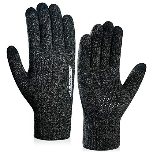 coskefy Winter Warm Gestrickte Touchscreen Handschuhe für Frauen Männer Gloves Wolle Ostern Weihnachten Sport Fahrrad Reiten Camping Wandern Laufen Arbeit Bequem (Damen, Grau)