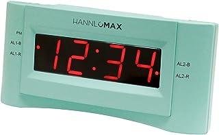 HANNLOMAX HX-136CR Alarm Clock Radio, PLL FM Radio, Dual Alarm. 0.9 inches Red LED Display, USB Port for 1A Charging (Green)