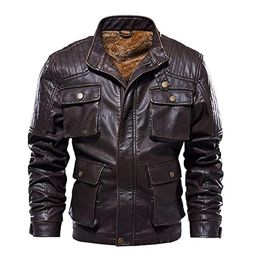 Inverno degli uomini Vintage Multi-Tasche In Pelle Distressed Outwear Plus Velvet Moto Soprabito Plus Size Outercoat, Caff, XXXXL
