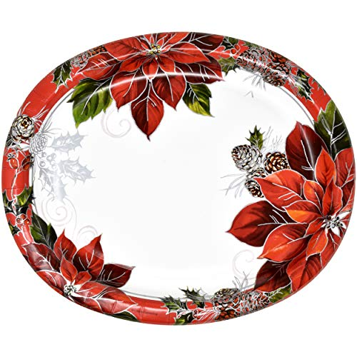 50 Count Christmas Oval Paper Plates Platters Holiday Disposable Kitchen Set Large Dishes Tree Santa Trays Serving Dish Candy, Cookie Dinner Ornament Design Party Bulk Sturdy Platters by Gift Boutique