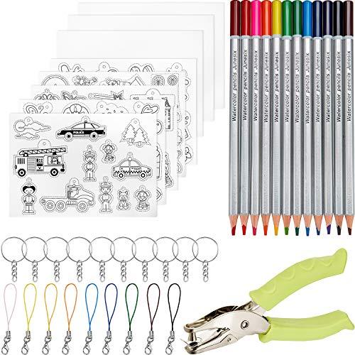 41 Stücke Schrumpffolie Schrumpffolienplatten,inklusiv 8 Stücke Schrumpfende Plastikfolie, Schlüsselanhänger, Schließe und Bleistifte Locher für DIY Handwerk für Kinder
