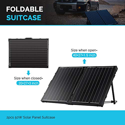 Renogy 100W 12V Monocrystalline Off Grid Portable Foldable 2pcs 50W Solar Panel Suitcase Built-In Kickstand