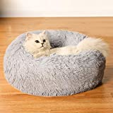 Cat Beds for Indoor Cats, Machine Washable Dog Bed for Small Dogs, Round Fluffy Donut Cuddler Calming Pet Bed, Anti-Anxiety Soft Plush Pet Bed for Puppy and Kitten (23.6''X23.6'', Grey)
