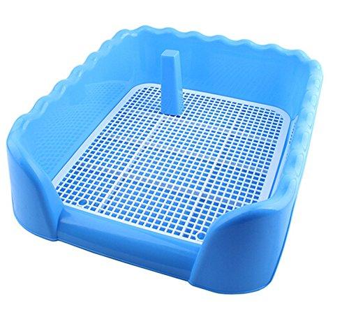 RZMY Inodoro de plástico para perros y cachorros, con valla y objetivo para orinar (L, azul)