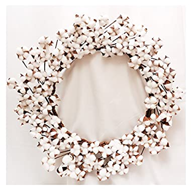 Cotton Wreath-25  (As More As 110 Cotton Buds per Wreath) for Front Door Festival Hanging Decorations Welcome Decor Made from Real Natural White Cotton Flowers Bolls