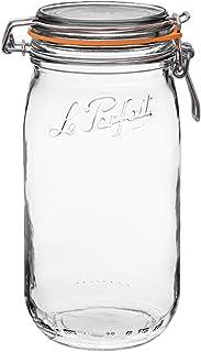 Le Parfait Super Jar - 1.5L French Glass Canning Jar w/Round Body, Airtight Rubber Seal & Glass Lid, 48oz/Quart & Half (Si...