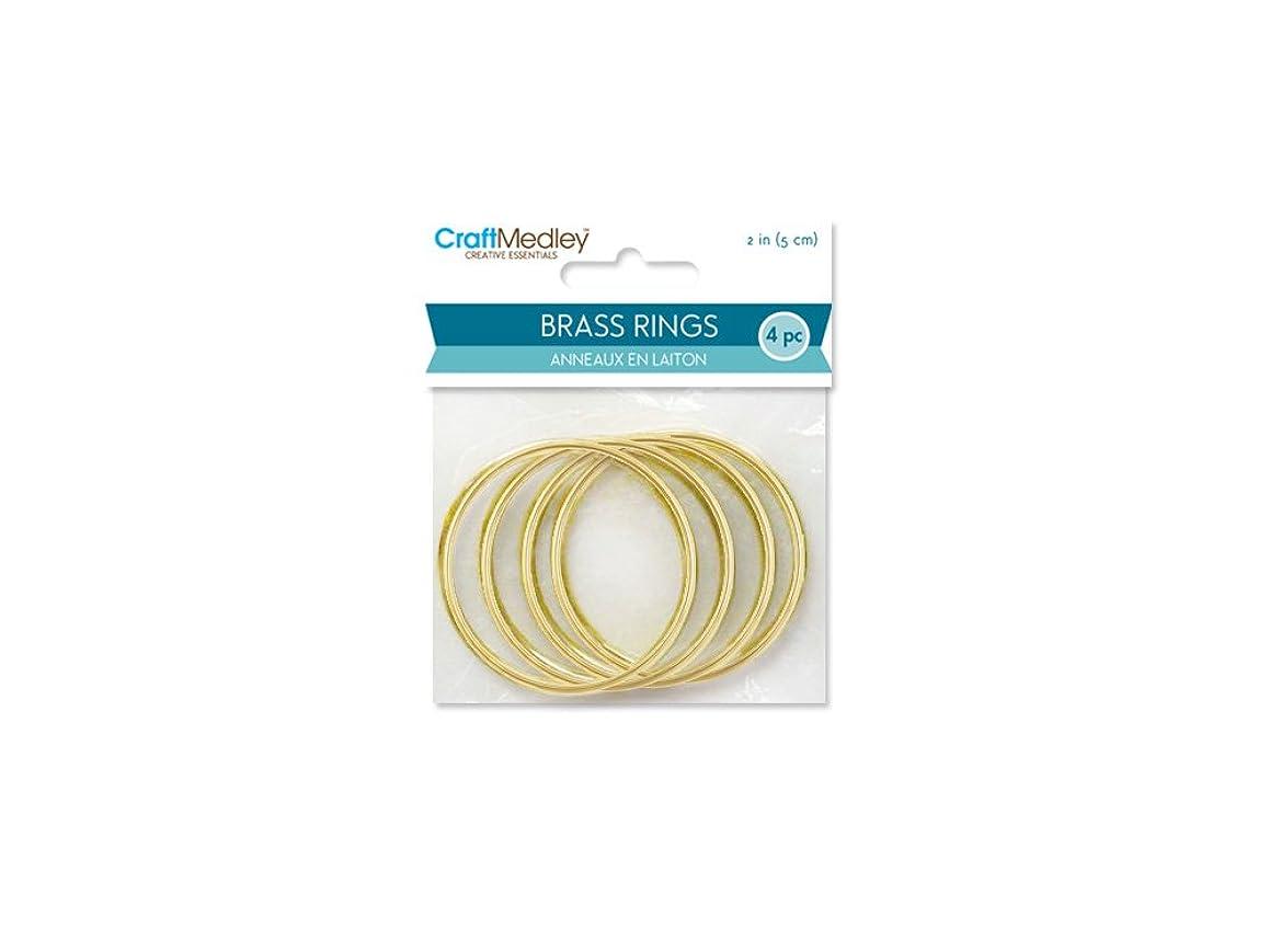 CraftMedley Brass Rings, 2in, Round, 4-Piece, 2