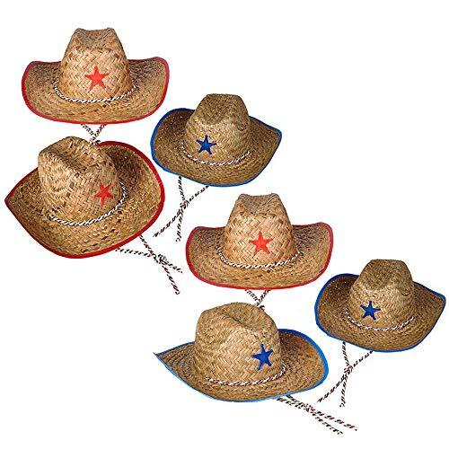 The Dreidel Company Cowboy Straw Hat, Western Sheriff Child's Straw Cowboy Hat with Plastic Star (6-Pack)