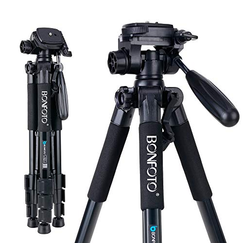 BONFOTO Q111 Camera and Phone Tripod Protable Light Weight Video Selfie for Canon Nikon Sony DSLR Projector Gopro and Smartphones Live(Black)