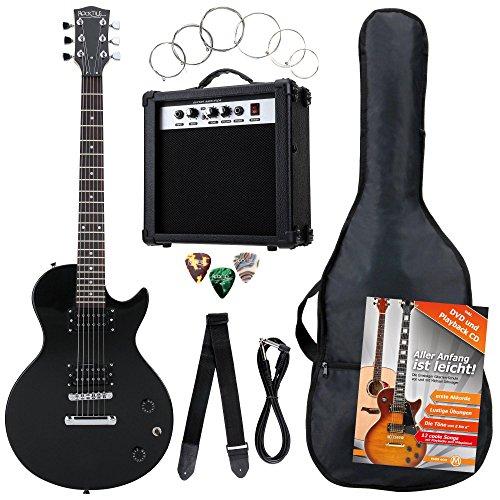 Rocktile Banger\'s Pack Komplettset E-Gitarre Single Cut Schwarz (Verstärker, Tasche, Kabel, Gurt, Plecs, Ersatzsaiten und Schule mit CD/DVD)