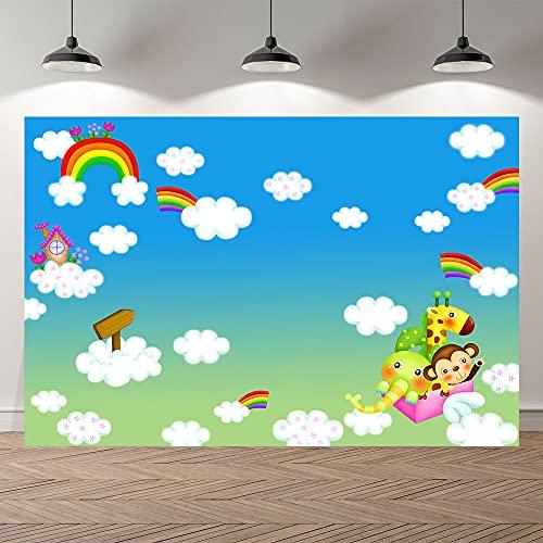 Fondo de fotografía Cielo Aviones Nubes Fiesta Dibujos Animados Foto telón de Fondo niños Feliz cumpleaños Baby Shower sesión fotográfica A10 7x5ft / 2,1x1,5 m