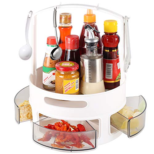 Sowoffuo 2-Tier Lazy Susan with Holder, Turntable and Height Adjustable Cabinet Organizer, 360Rotating Spice Rackfor Kitchen, Bathroom, Workbench (Clear)