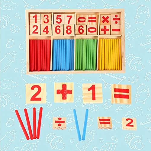 Hztyyier Tarjetas numéricas Bloques de construcción, Juguetes educativos Ayudas para la enseñanza de Las matemáticas Juguete de Madera Palos para Contar para la enseñanza de Las matemáticas