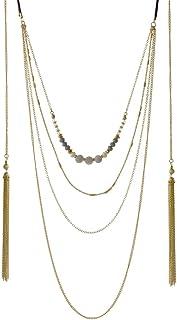 d700995ce54ec Tata Gisèle Collier Fantaisie Multi Rangs en Métal Doré, Argenté, Perles  Synthétiques et Textile