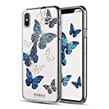 LUXMO PREMIUM Case Compatible with iPhone Xs Max, Crystal Clear TPU Fashion Slim Fit Protective Bumper Case Cover for iPhone Xs Max 6.5 Inch (2018 Released)-Blue Butterfly