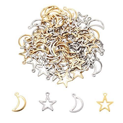 UNICRAFTALE Charms Hollow Star And Moon 80pcs Charms in Acciaio Inossidabile 2 Colori Ciondolo Piccolo Foro Pendenti in Metallo Ciondolo Liscio Piatto per Ciondola Creazione di Gioielli