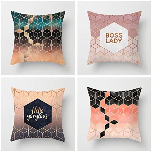 HOUZII Zippered Cushion Cover, 4 Pack Trendy home decoration Square Throw Pillow Case, 45x45 cm (17x17 Inch),