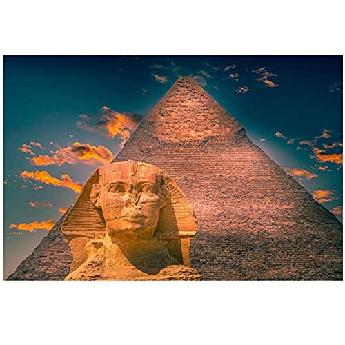 Pirámides egipcias Carteles e impresiones Esfinge Pintura en lienzo en la pared Decoración artística HD Imágenes de paisajes famosos para la sala de estar -60x90cm Sin marco