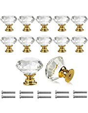 Bosdontek Pomo de Cristal Forma de Diamante Tiradores de Muebles Perilla de la Puerta con Tornillo Perillas Manijas para Armario Cajón Aparador Cocina 30mm