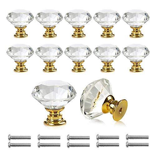 Bosdontek - 12 pomelli per cassetti, per armadi o per mobili, in lega di zinco e cristallo, da 30 mm, 12 pezzi, dorati