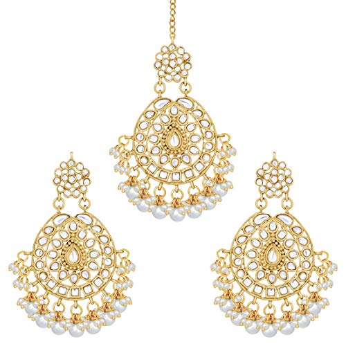 Aheli Stunning Indian Traditional Maang Tikka Earrings Set for Women Bollywood Ethnic Party Wear Fashion Jewelry for Women (White)